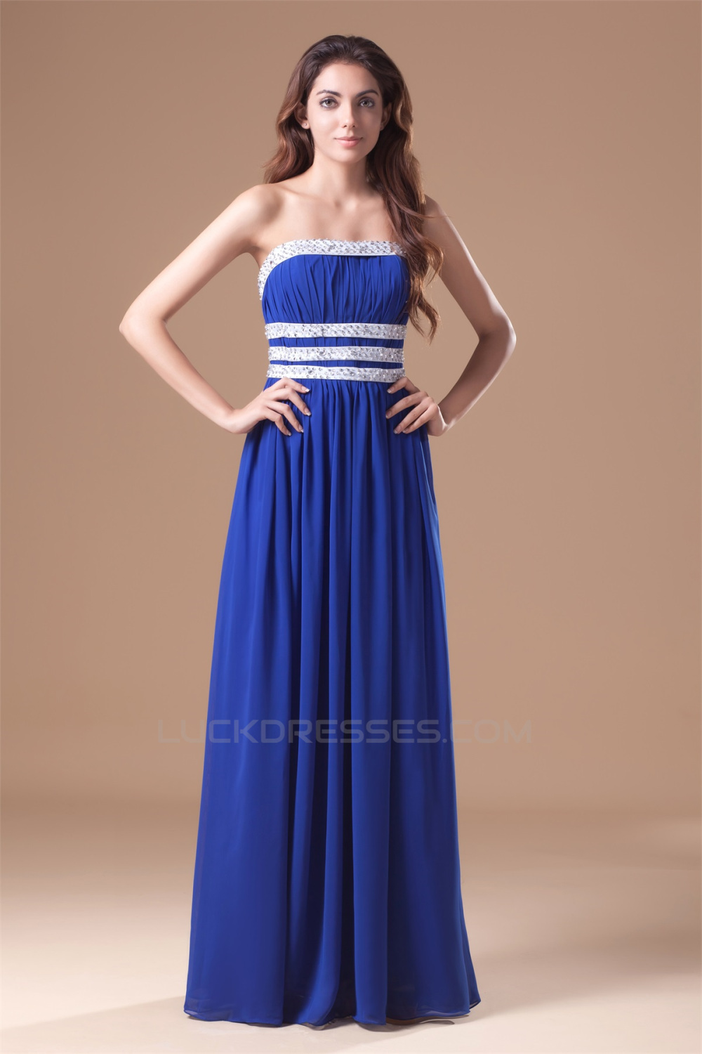 Beading Chiffon Silk Like Satin Floor Length Prom Formal