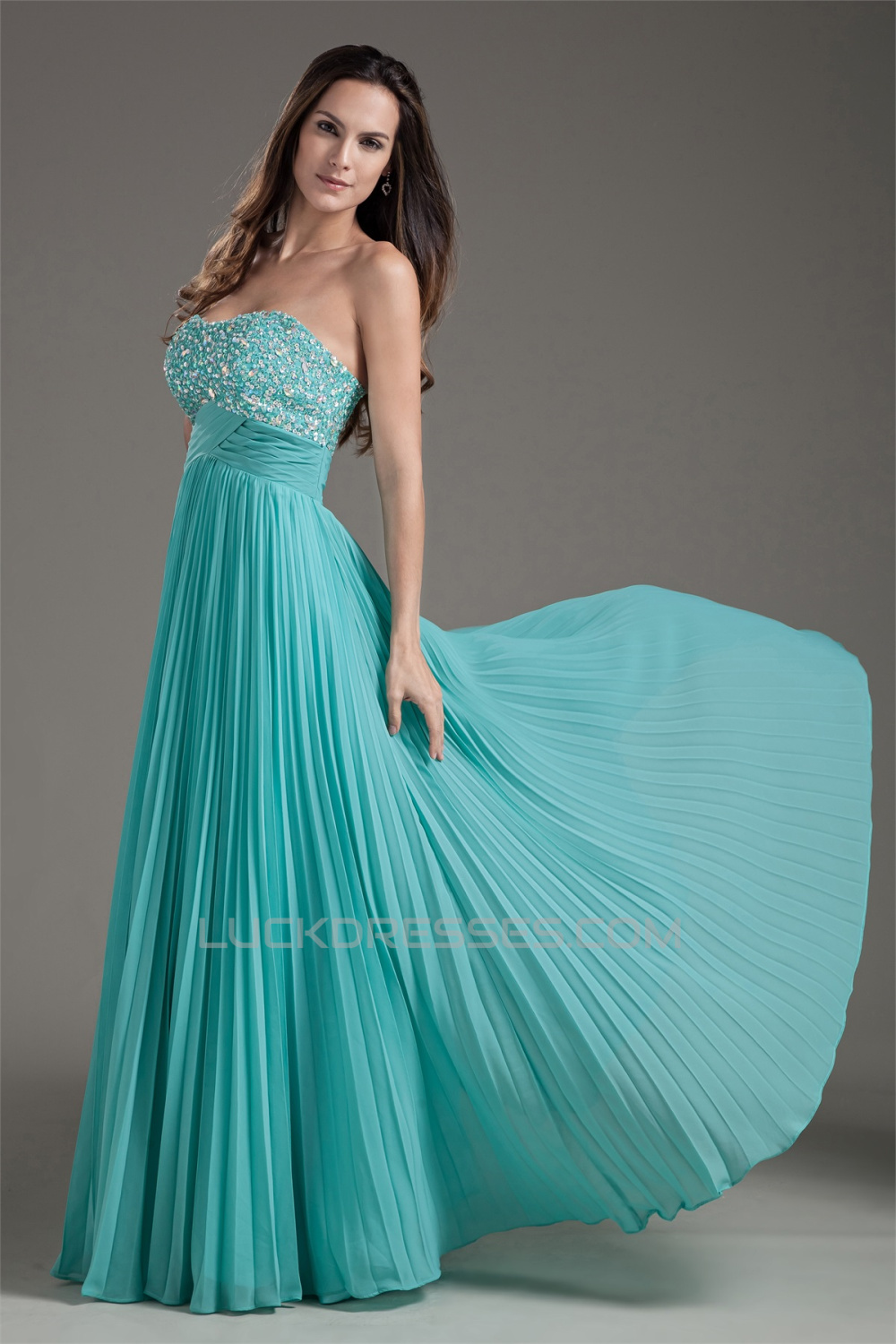 A line beaded pleated chiffon floor length prom formal for Turquoise and white wedding dresses