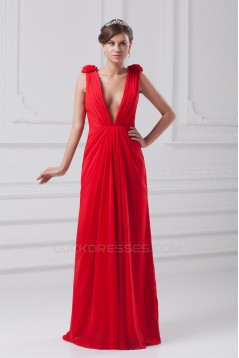 Floor-Length Chiffon Long Red Prom/Formal Evening Dresses 02020736