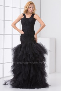 Floor-Length Elastic Woven Satin Fine Netting Prom/Formal Evening Dresses 02020743