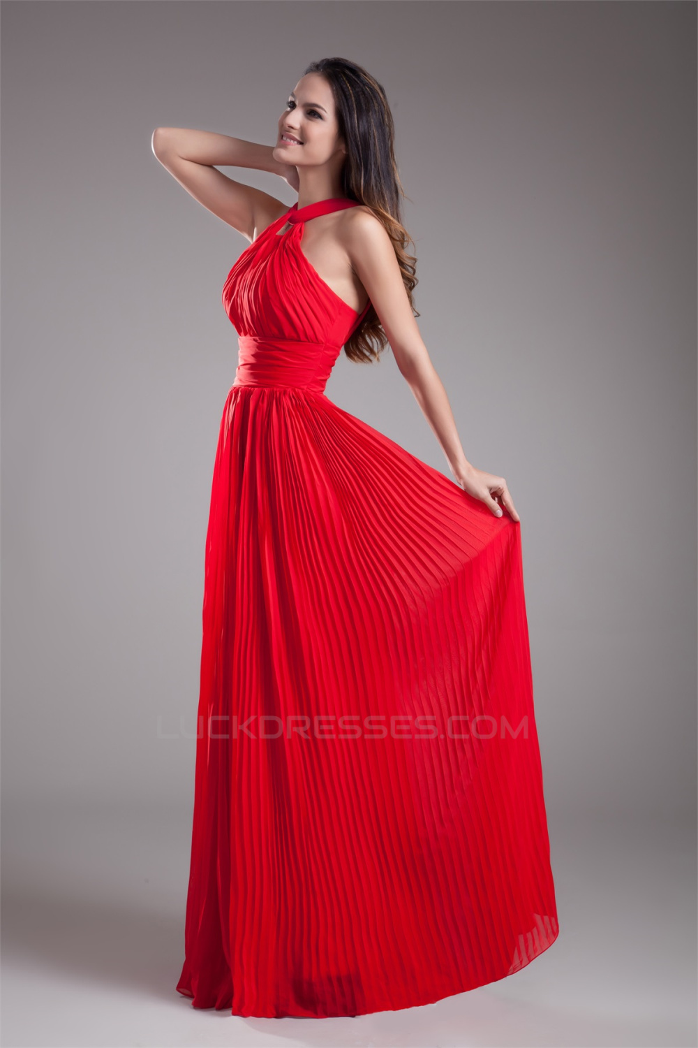 Floor Length Pleats Sleeveless Halter Sheath Column Prom