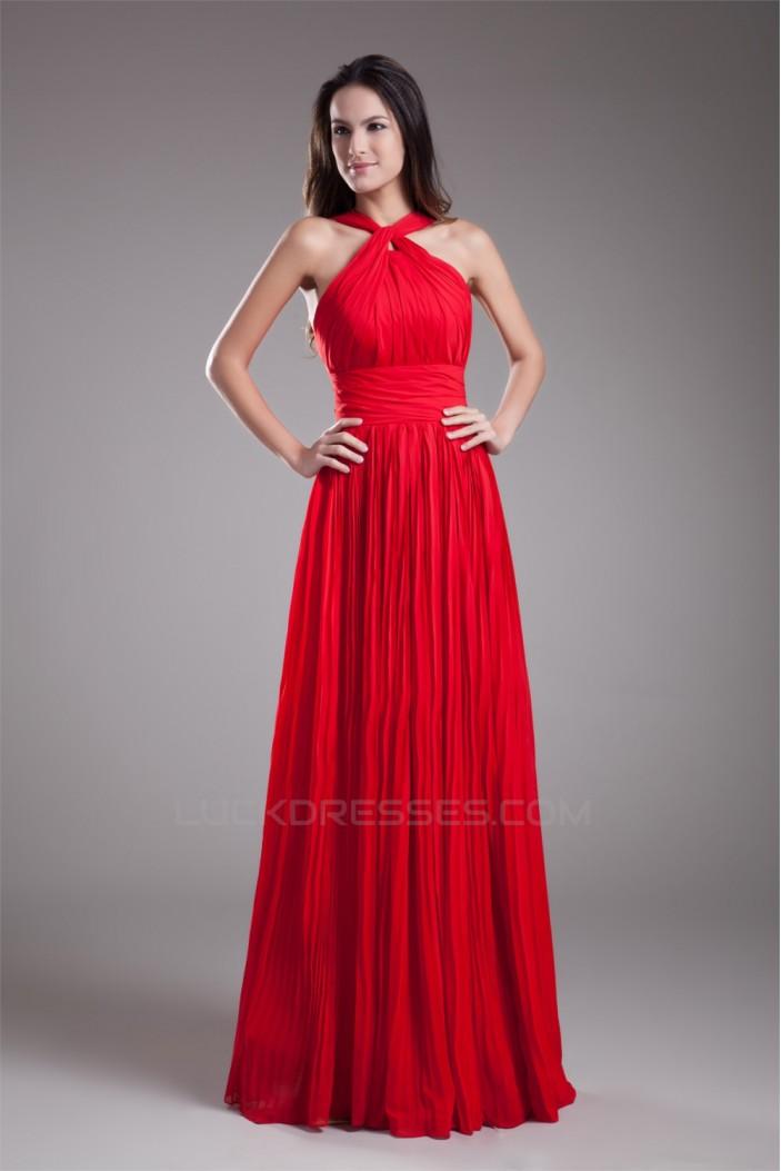Floor-Length Pleats Sleeveless Halter Sheath/Column Prom