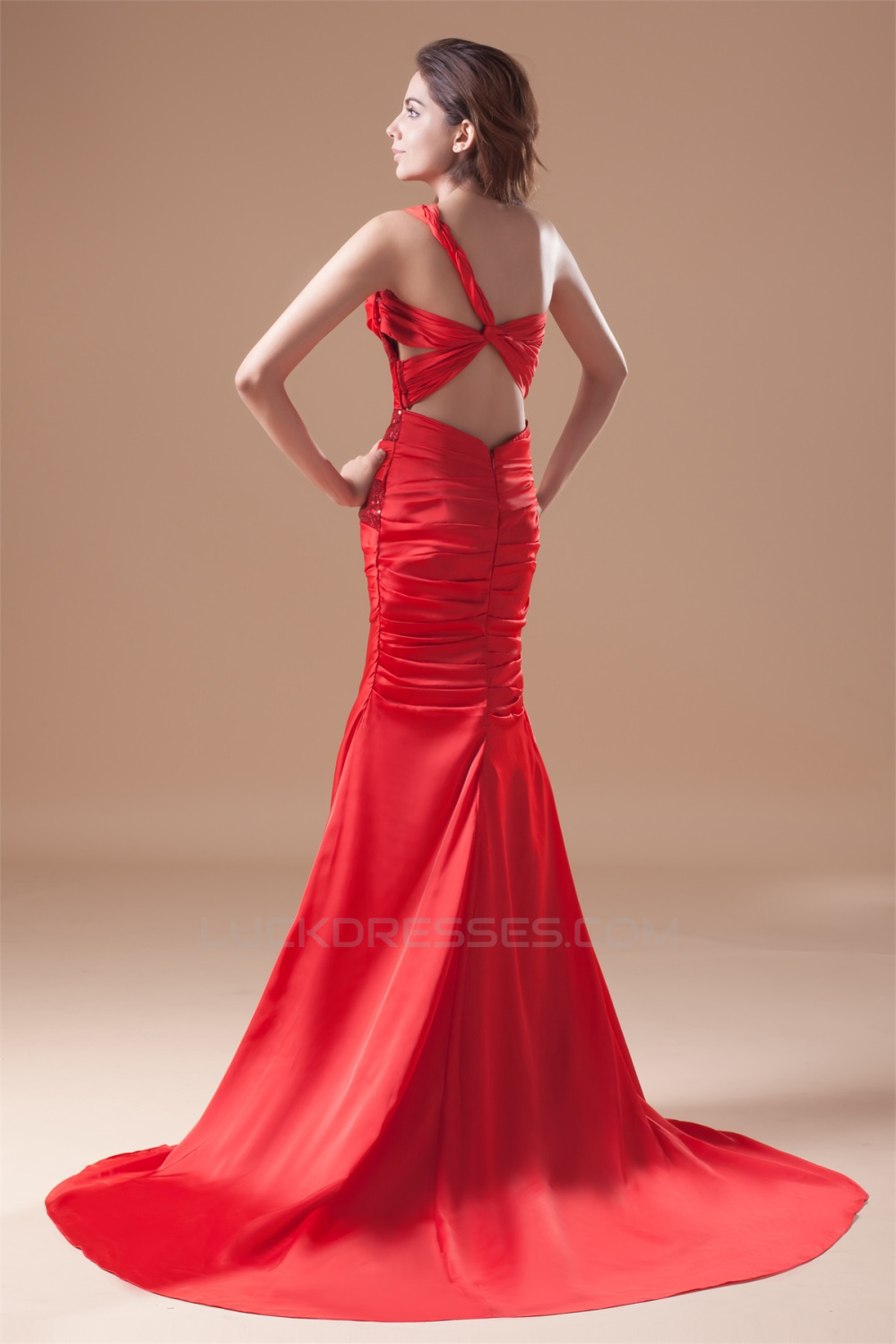 Mermaid Trumpet One Shoulder Pleats Sequins Prom Formal