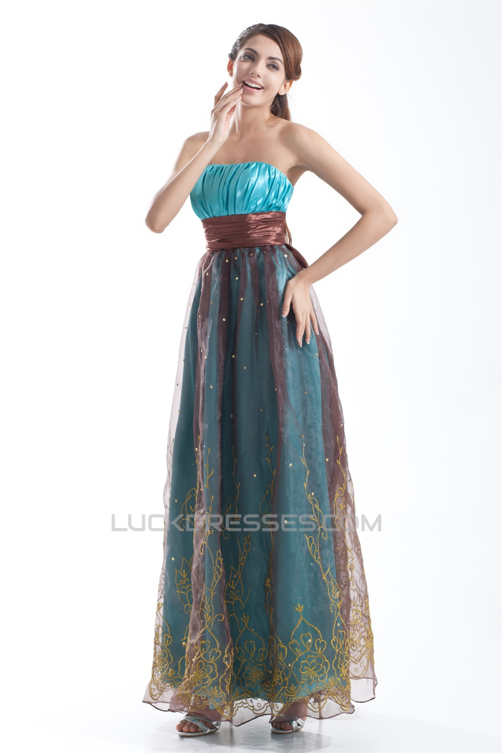 Organza Silk Like Satin Pleats Strapless Prom Formal