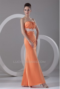 Satin Ankle-Length Strapless Sheath/Column Prom/Formal Evening Dresses 02020818