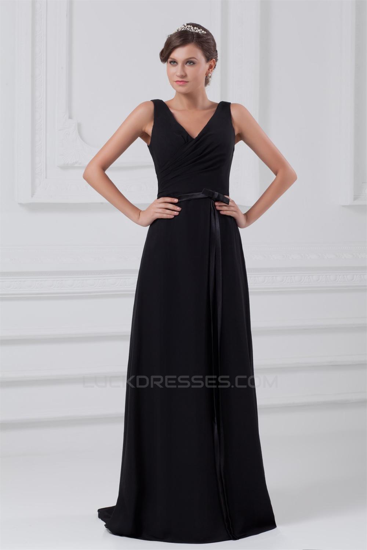 e3e6878ae2c A-Line V-Neck Long Black Chiffon Evening Party Bridesmaid Dresses 02020823