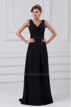 A-Line V-Neck Long Black Chiffon Evening Party Bridesmaid Dresses 02020823