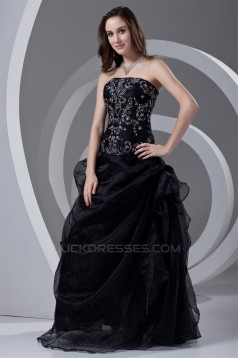 Satin Organza Beading Ball Gown Floor-Length Prom/Formal Evening Dresses 02020825
