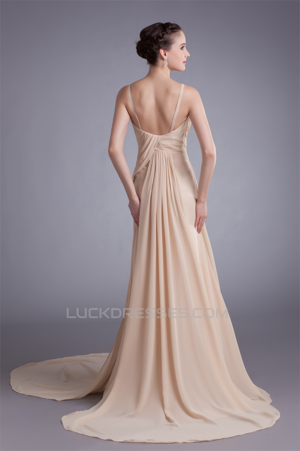 A Line Straps Chiffon Silk Like Satin Prom Formal Evening