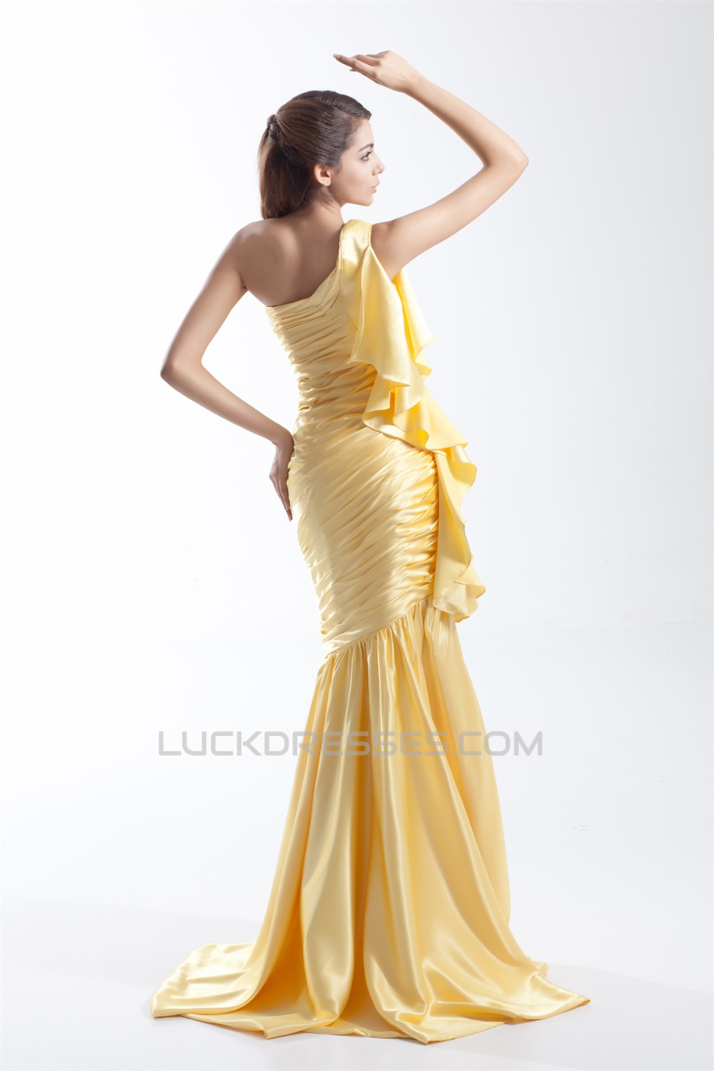 One Shoulder Brush Sweep Train Long Yellow Prom Formal