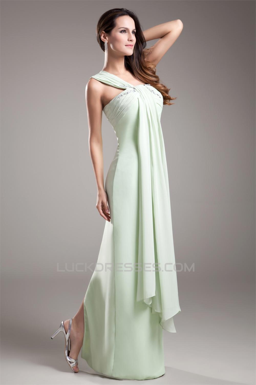 Sleeveless One Shoulder Floor Length Sheath Column Prom