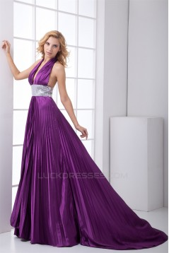 Sleeveless Pleats Elastic Woven Satin Puddle Train Prom/Formal Evening Dresses 02020891