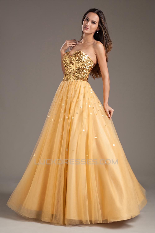 A-Line Taffeta Net Sequins Sleeveless Sweetheart Prom