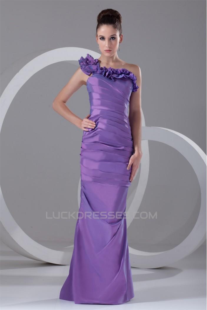 Taffeta Sleeveless Floor-Length One-Shoulder Prom/Formal Evening ...