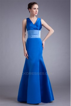 Trumpet/Mermaid V-Neck Pleats Floor-Length Satin Prom/Formal Evening Bridesmaid Dresses 02020962