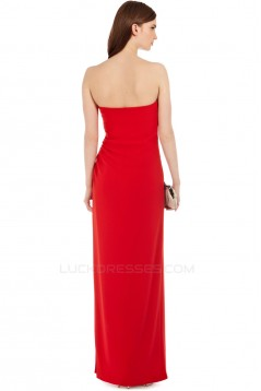 Sheath/Column Strapless Long Chiffon Prom Evening Party Bridesmaid Dresses 02020965