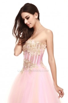 A-Line Strapless Beaded Appliques Long Prom Evening Party Dresses 02020971