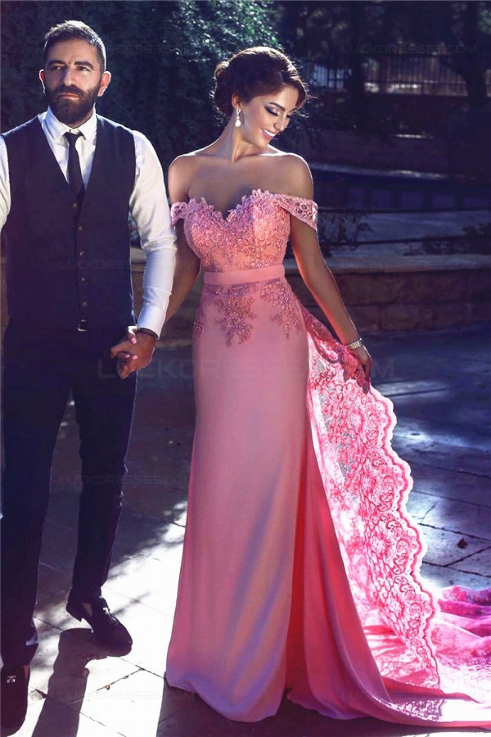 Charming Off The Shoulder Long Pink Lace Prom Evening