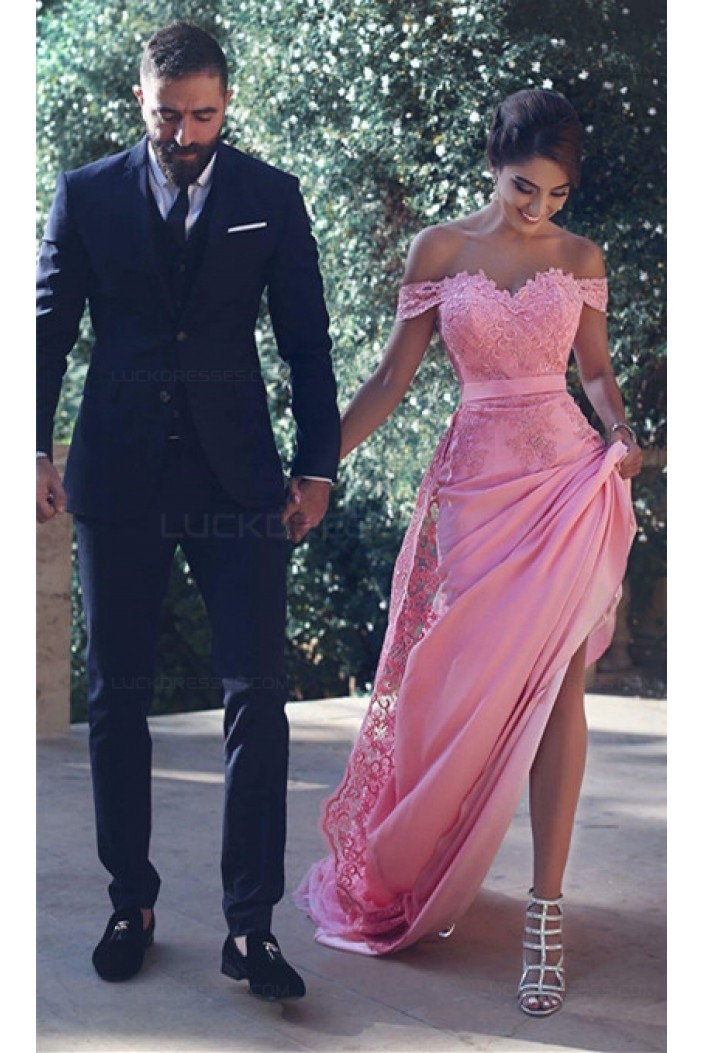 Charming Off-the-Shoulder Long Pink Lace Prom Evening Formal Dresses 3020001