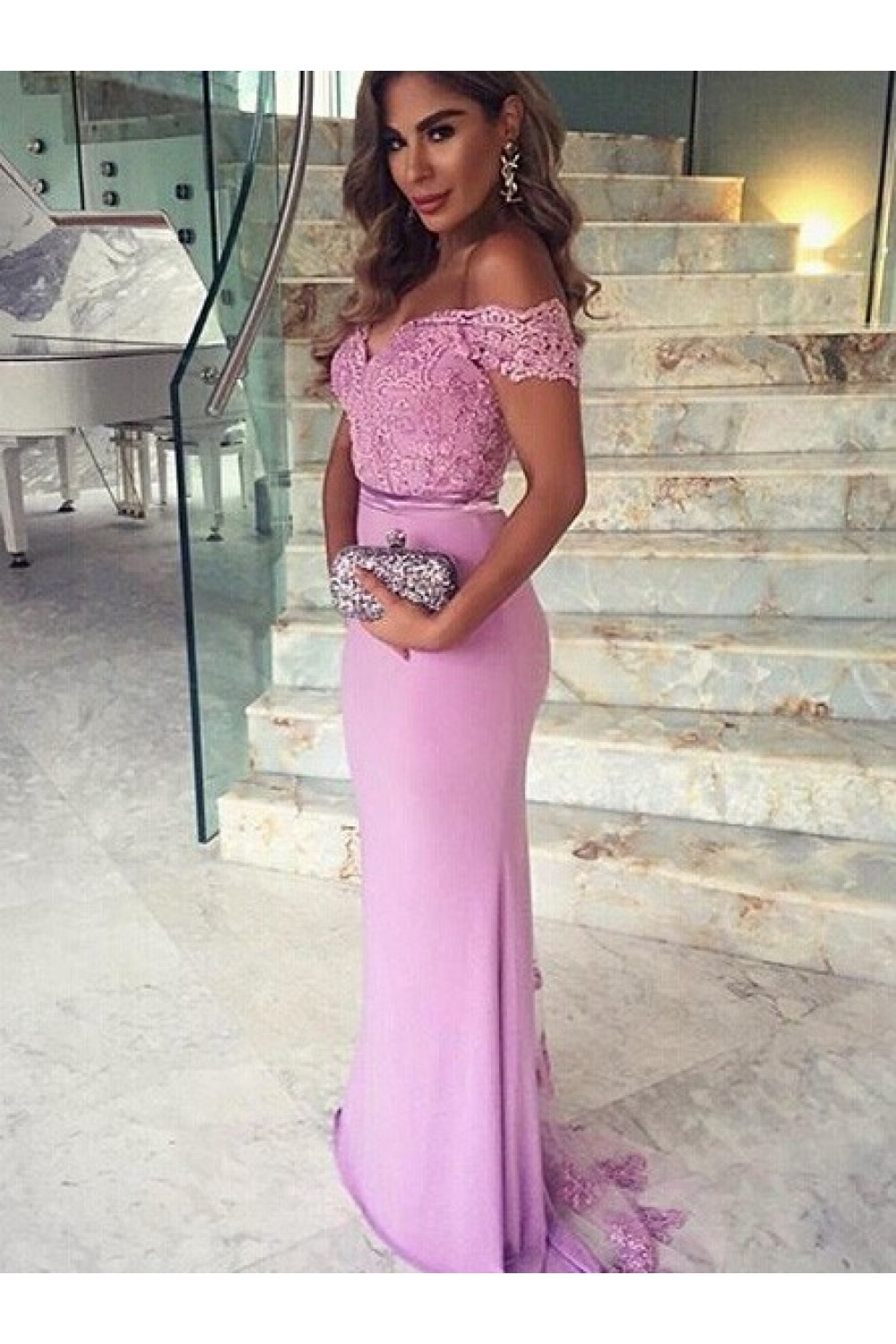 c52ac01b3e7e4 Trumpet/Mermaid Off-the-Shoulder Long Pink Lace Prom Evening Formal Dresses  3020009