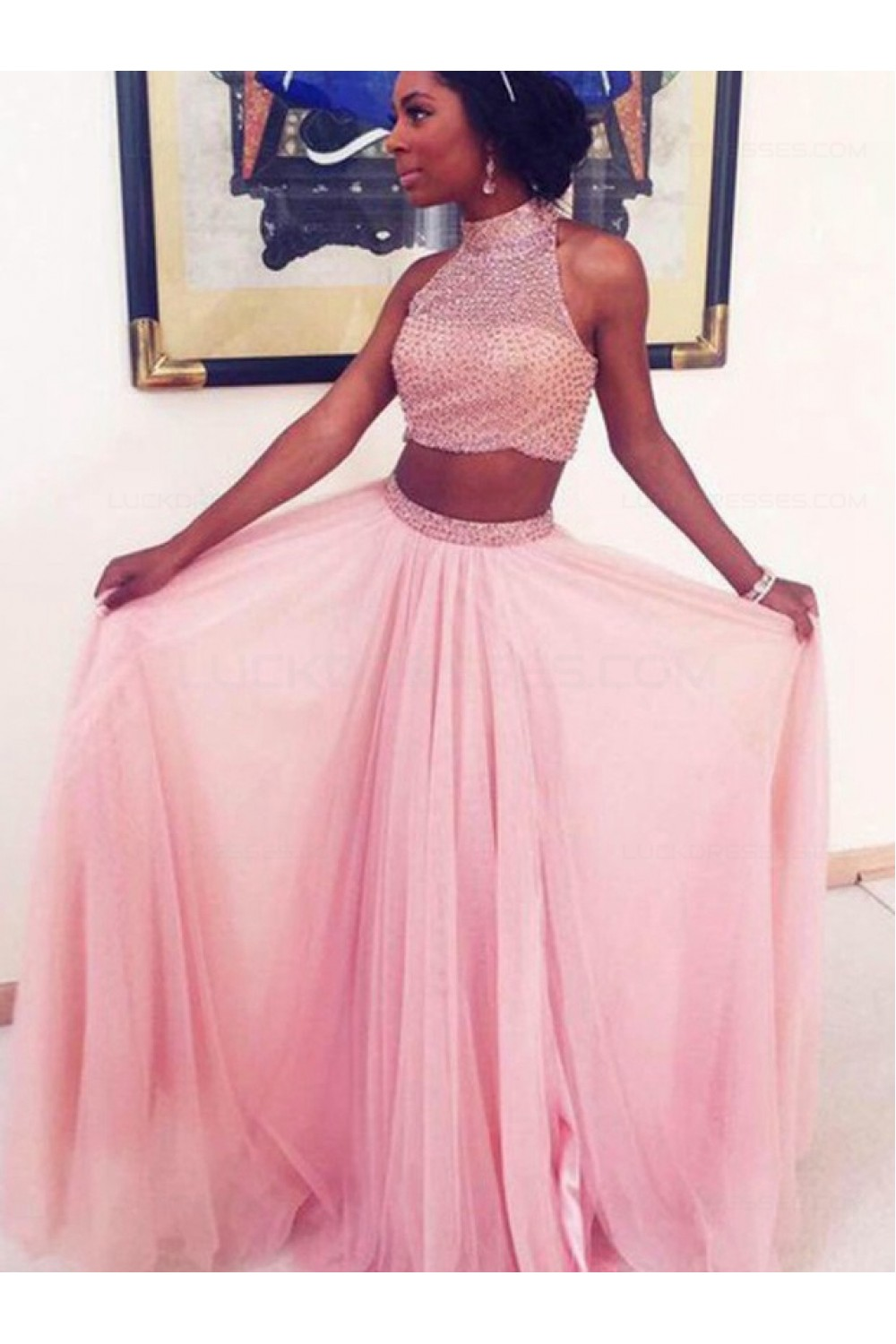 Two Pieces Beaded High Neck Long Pink Prom Evening Formal Dresses ...