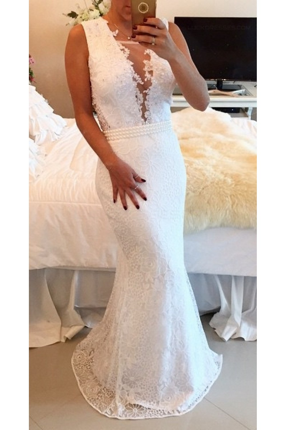 4d555138e1 Sexy Trumpet Mermaid Lace Long White See Through Prom Evening ...