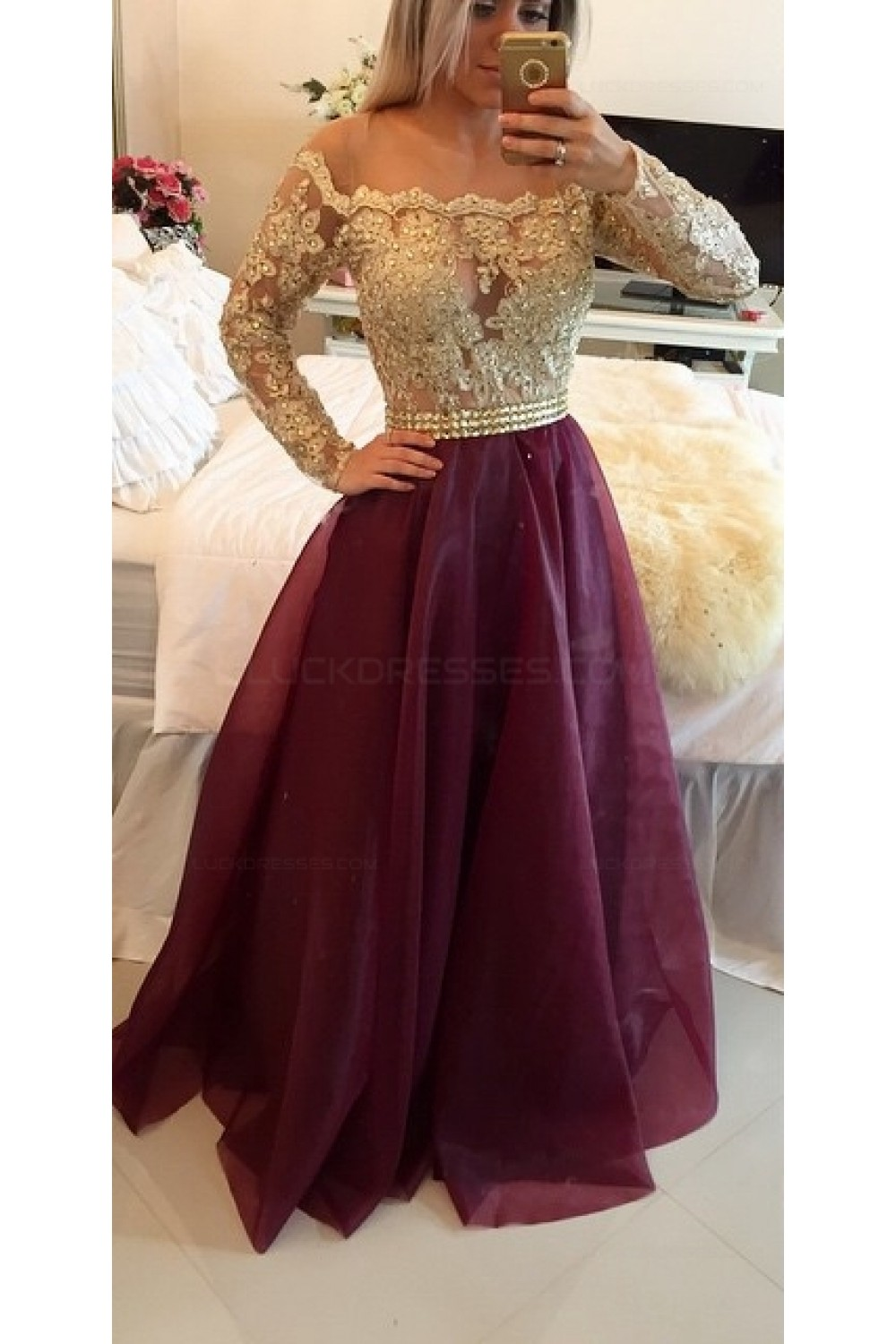 aline offtheshoulder long sleeves gold lace prom