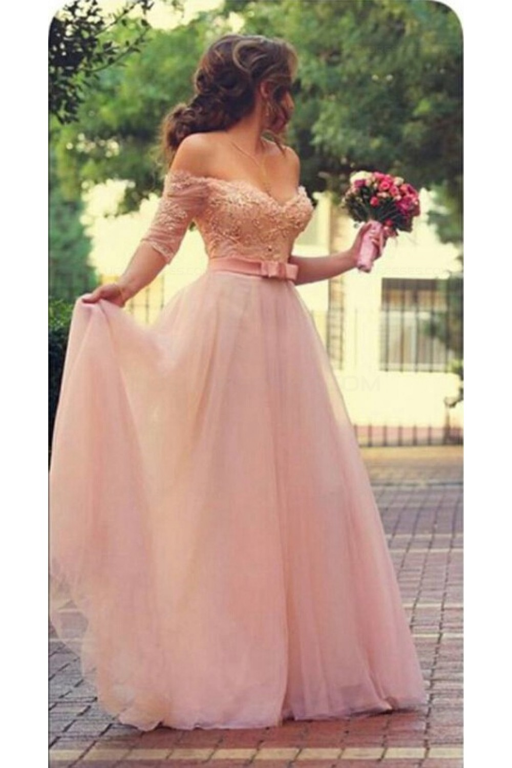 a23c8c157499 A-Line Off-the-Shoulder Half Sleeves Long Pink Lace Chiffon Prom ...