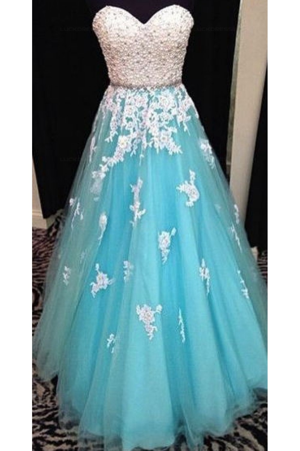 A Line Sweetheart Lace Tulle White Blue Long Prom Evening
