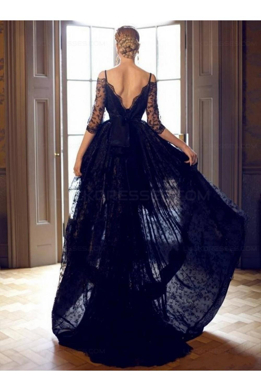 2ab2cddbfcaf High Low Off-the-Shoulder Lace V-Back Prom Evening Formal Dresses 3020046