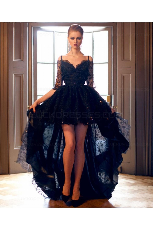 594d22721c34 High Low Off-the-Shoulder Lace V-Back Prom Evening Formal ...