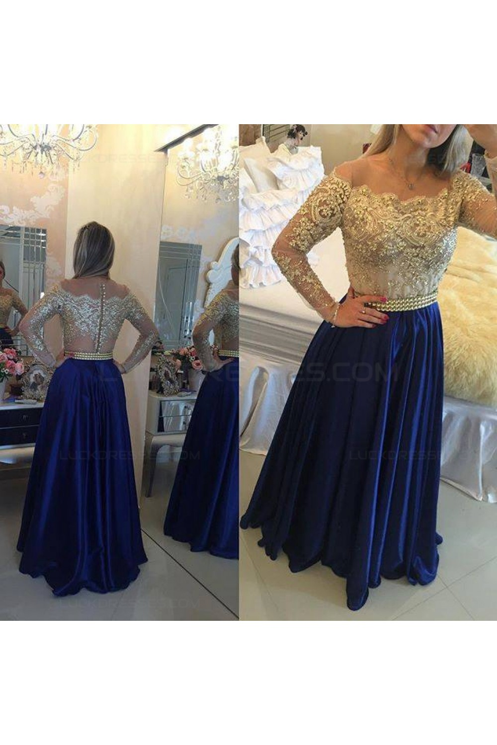 7de10bd115f Long Sleeves Off-the-Shoulder Gold Beaded Lace Blue Prom Evening ...