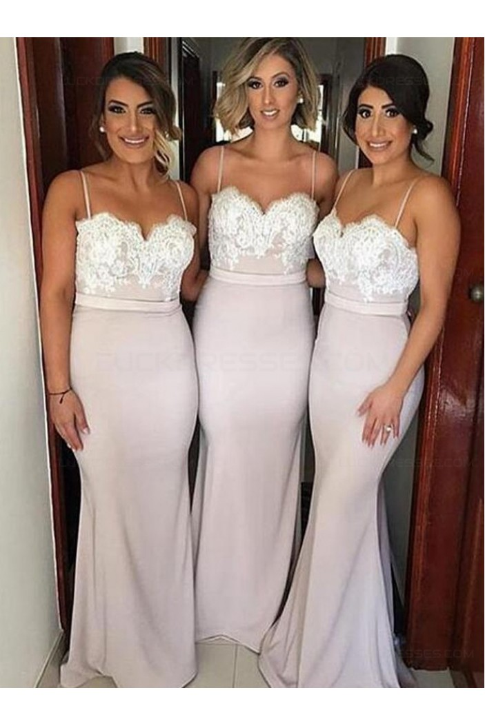 Trumpet/Mermaid Spaghetti Straps Lace Long Prom Evening Formal Bridesmaid Dresses 3020079