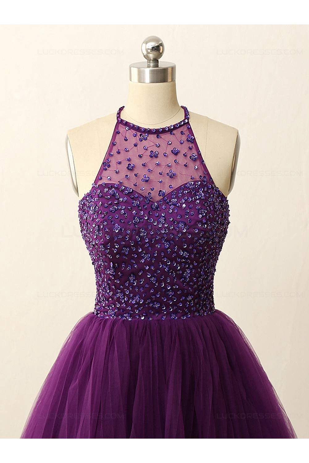 A Line Short Sequins Purple Prom Evening Bridesmaid
