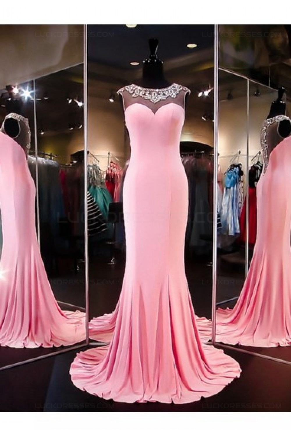 Beaded Long Pink See Through Prom Evening Formal Dresses