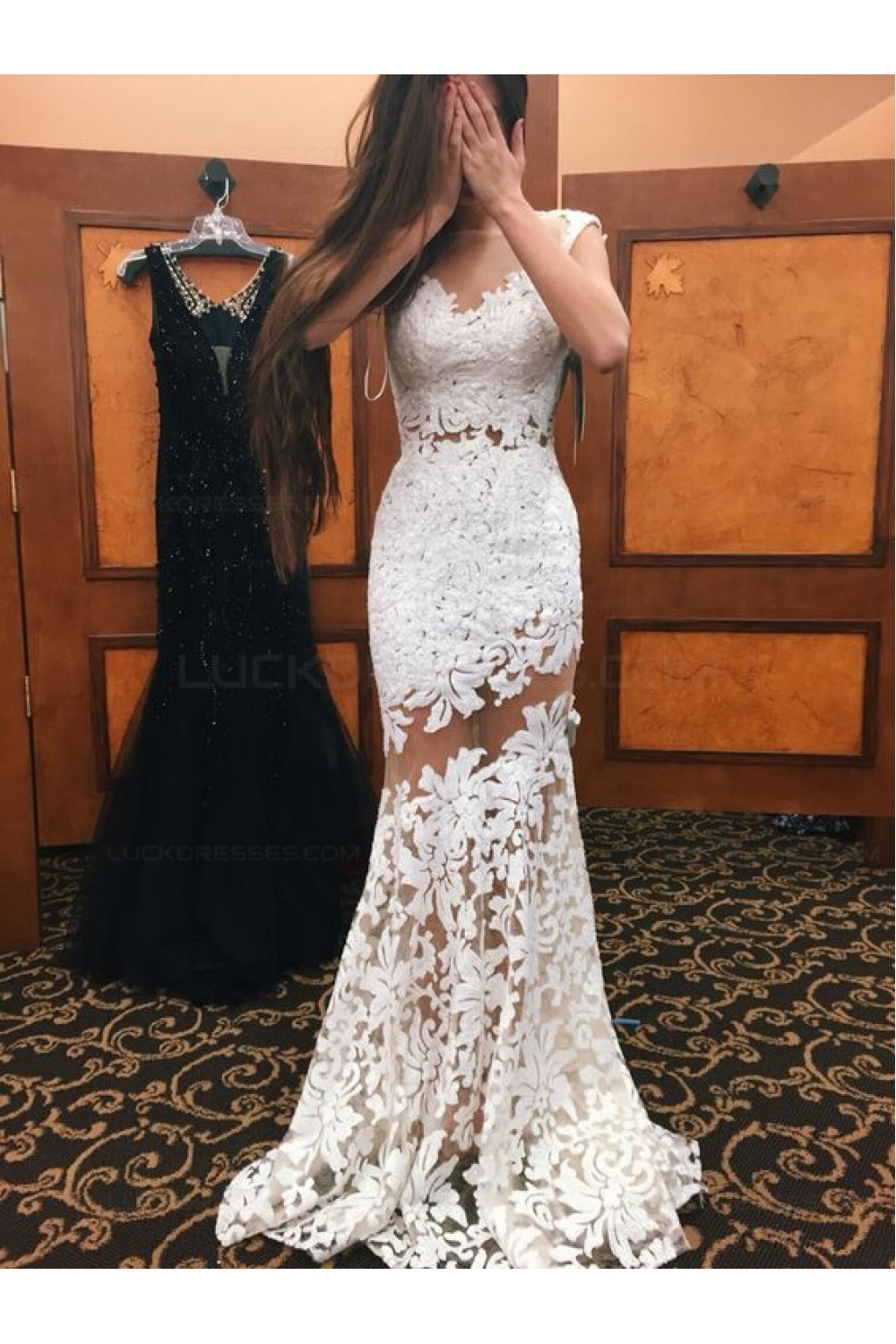 Trumpet/Mermaid Long White See Through Prom Evening Formal Dresses ...