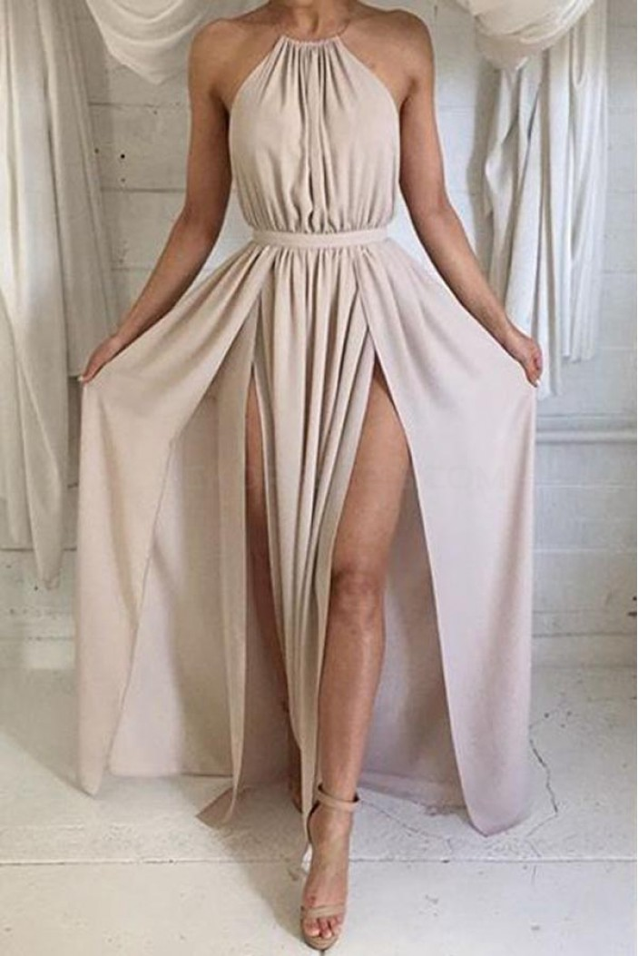 Halter Chiffon Long Prom Formal Evening Party Dresses 3021013