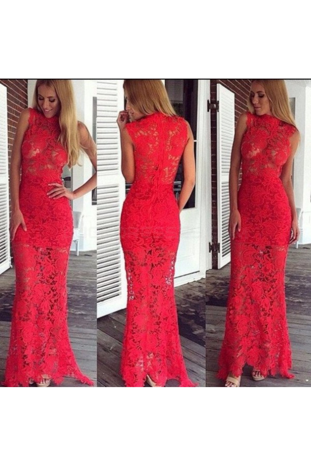 Mermaid Long Red Lace Prom Formal Evening Party Dresses 3021028