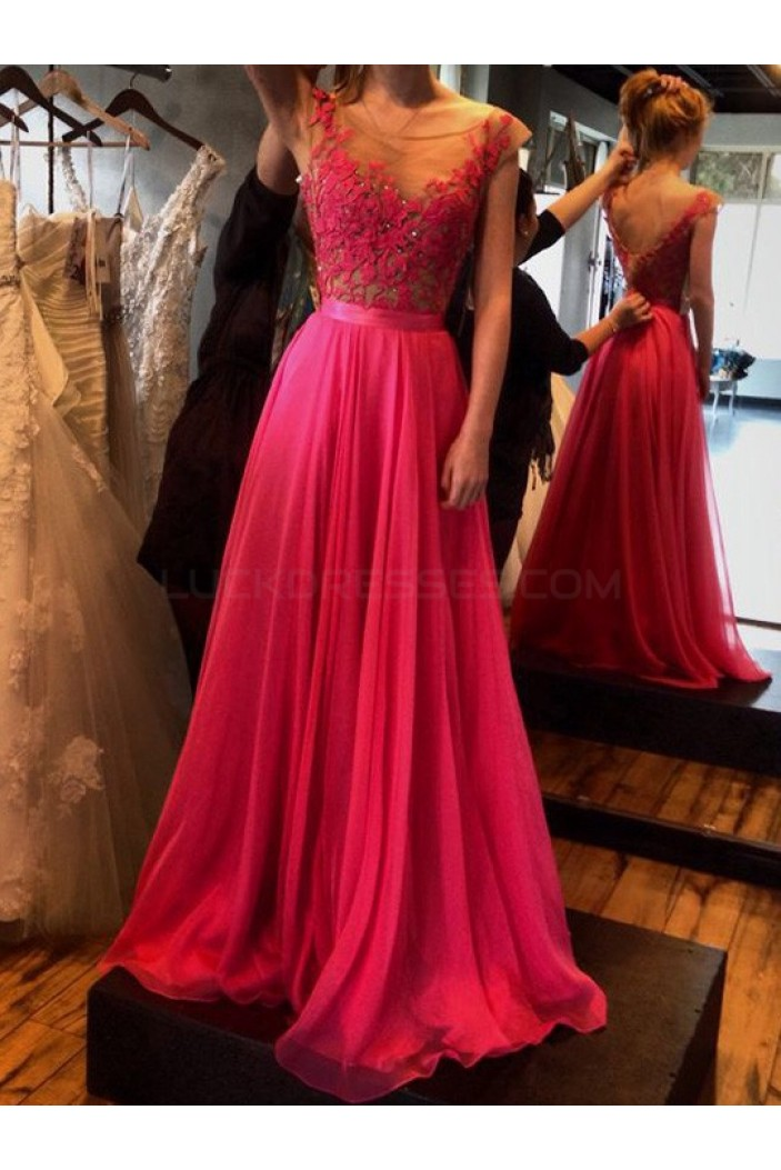 Elegant Lace Chiffon Long Prom Formal Evening Party Dresses 3021047