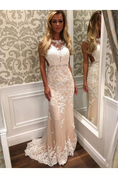 Mermaid Lace Appliques Long Beaded Prom Formal Evening Party Dresses 3021049