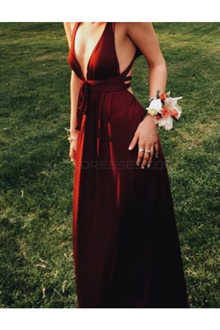 Long V-Neck Burgundy Prom Formal Evening Party Dresses 3021067