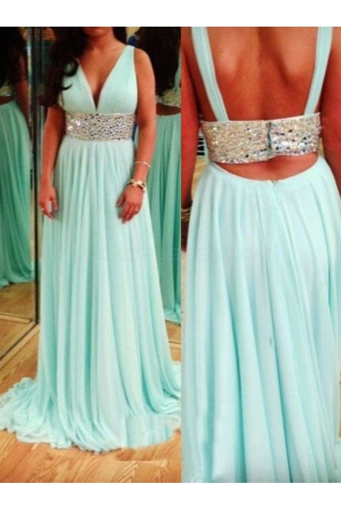 Beaded V-Neck Chiffon Long Prom Formal Evening Party Dresses 3021070