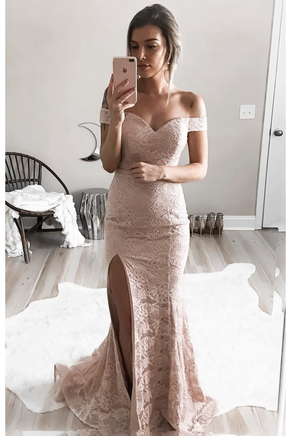classic lace mermaid offtheshoulder long prom formal