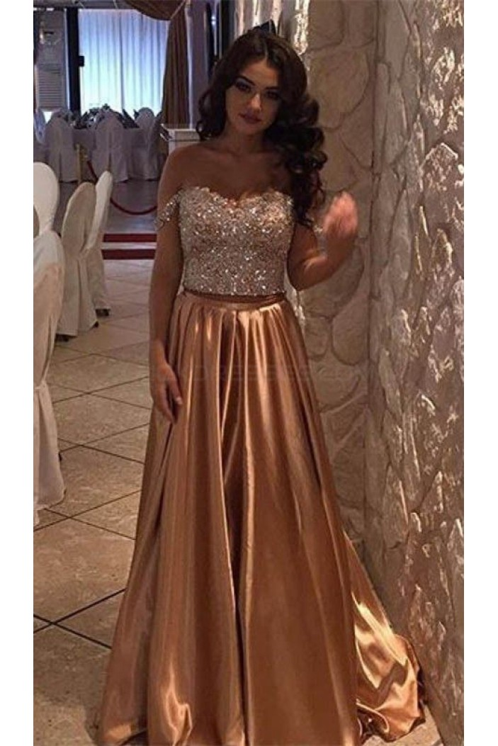 Off-the-Shoulder Beaded Long Prom Formal Evening Party Dresses 3021092