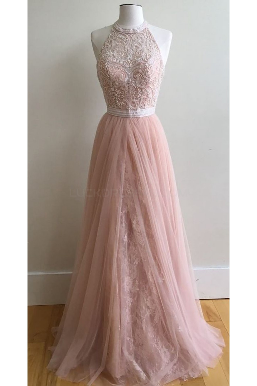 long pink halter lace prom formal evening party dresses