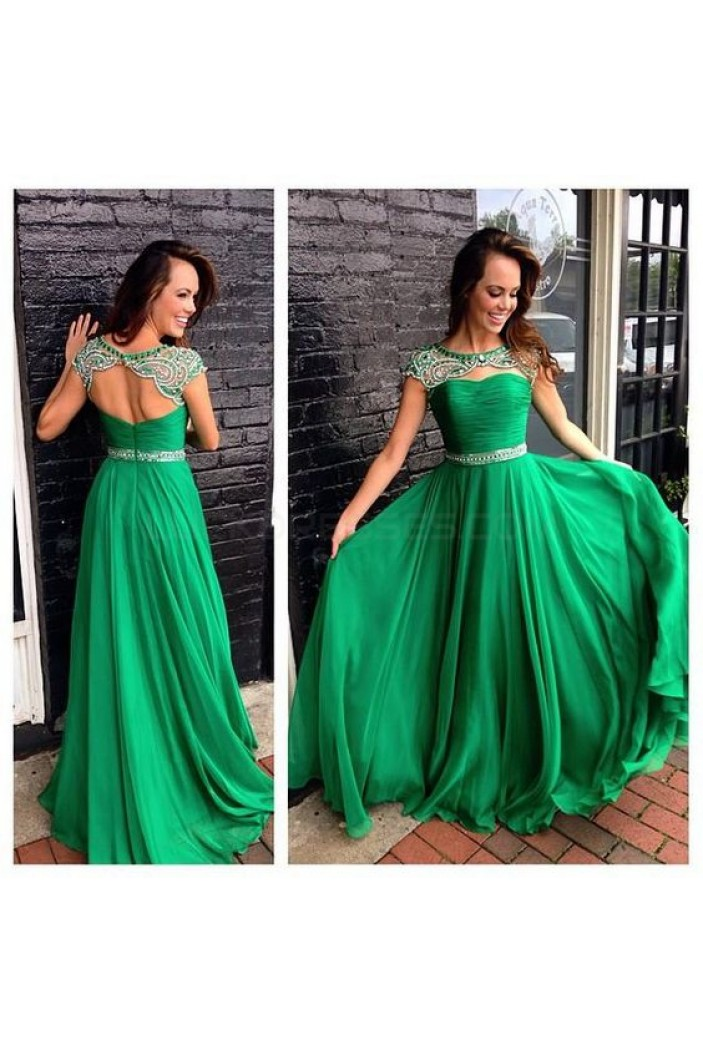 Long Green Beaded Chiffon Prom Formal Evening Party Dresses 3021105
