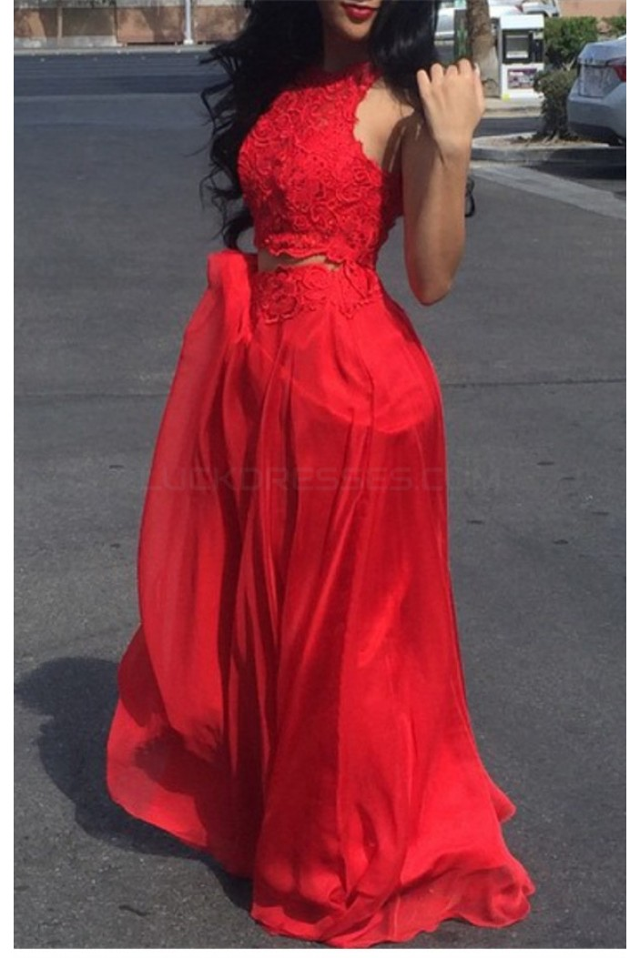 Two Pieces Lace Long Red Prom Formal Evening Party Dresses 3021124