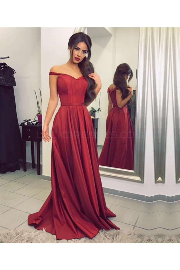 Burgundy Off-the-Shoulder Long Prom Formal Evening Party Dresses 3021128