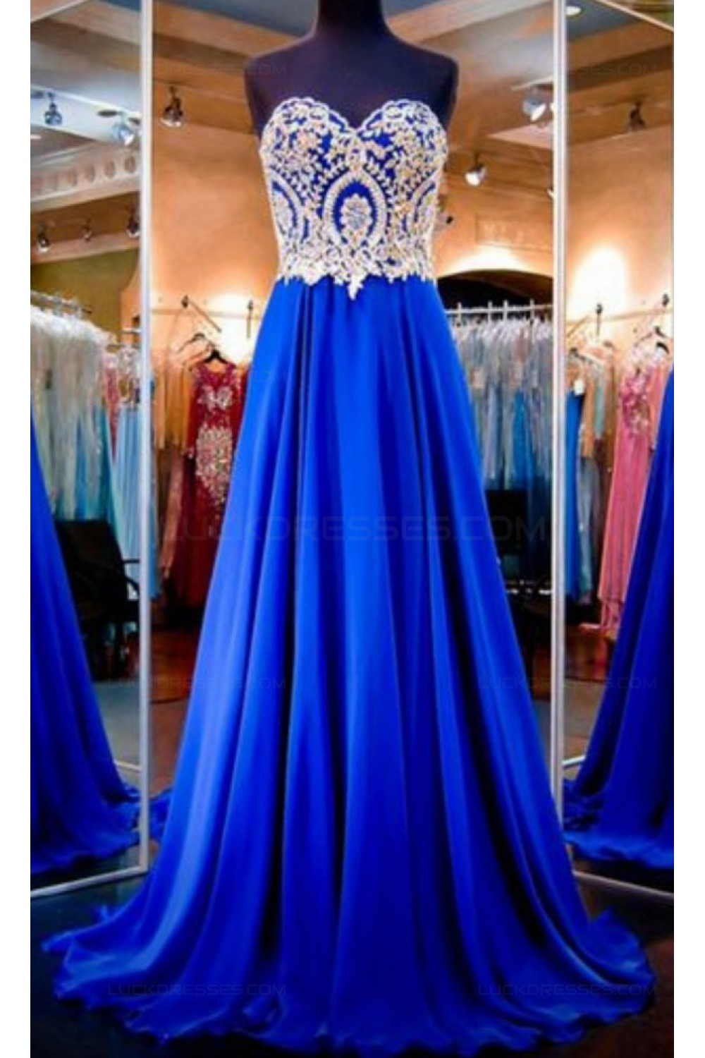 A-Line Sweetheart Gold Royal Blue Long Prom Evening Formal Dresses ...