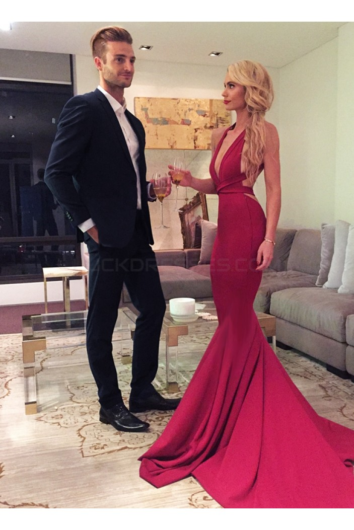 Sexy Red Mermaid Long Prom Formal Evening Party Dresses with Criss Cross Back 3021137